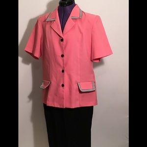 Willow Ridge 2 pc pink /black pant suit.
